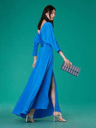 Diane von Furstenberg Long-Sleeve Floor-Length Wrap Dress
