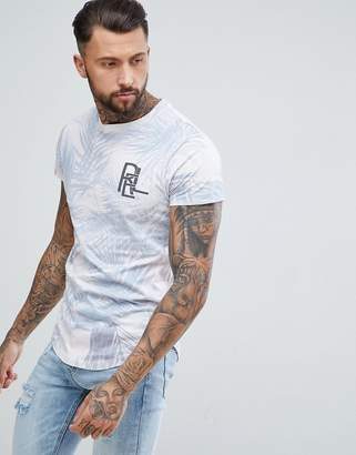 Religion longline t-shirt with curved hem in pink palm print