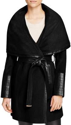 Via Spiga Belted Faux Leather Trim Coat $250 thestylecure.com