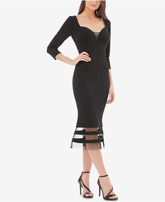 JS Collections Illusion-Trim Midi Dress