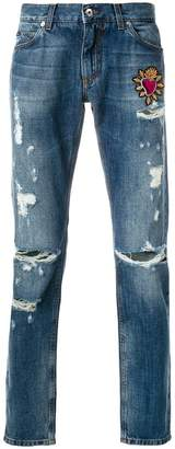 Dolce & Gabbana Sacred Heart patch jeans