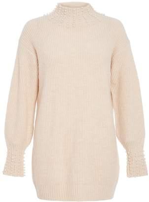 Quiz Cream Knit Pearl Jumper