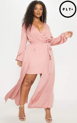 PrettyLittleThing Plus Rose Satin Plunge 2 in 1 Maxi
