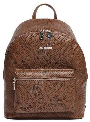 Love Moschino Embossed Logo PU Leather Backpack