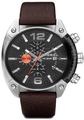 Diesel Men's Overflow Leather Strap Watch, 49mm