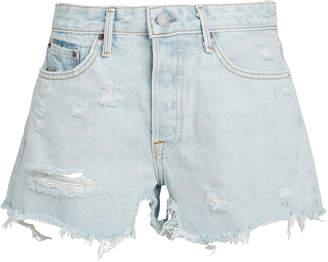 GRLFRND Helena Light Blue Distressed Shorts