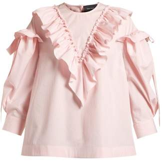 Simone Rocha Ruffled Trim Cotton Blouse - Womens - Pink