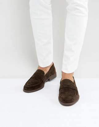 Dune Penny Loafers In Brown Suede