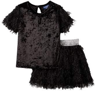 Andy & Evan Eyelash & Velvet Skirt Set (Toddler, Little Girls, & Big Girls)