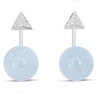 Ri Noor Pyramid & Ball Aquamarine Earrings