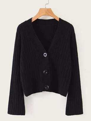 Shein Horn Sleeve V Neck Front Button Cardigan