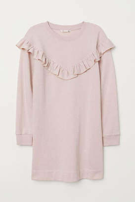 H&M Ruffled Sweatshirt Dress - Orange