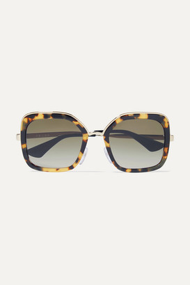 Prada Square-frame Tortoiseshell Acetate And Gold-tone Sunglasses - one size
