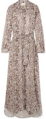 Marios Schwab On The Island By Balos Zebra-print Cotton-voile Robe - Dark brown