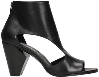Strategia Cut Out Black Leather Ankle Boots