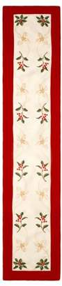 Creative Home Ideas Holiday Holly Berries Embroidered 14 x 72 in. Table Runner with Red Trim Border