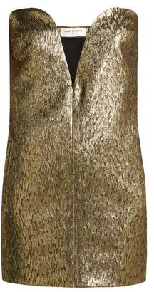 Saint Laurent Strapless Wool And Silk Blend Jacquard Mini Dress - Womens - Black Gold