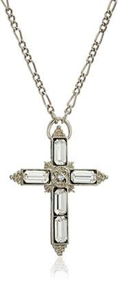 1928 Jewelry tone large crystal religious cross pendant necklace