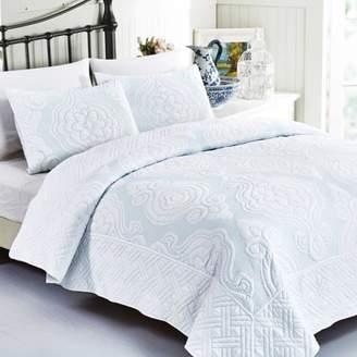 California Design Den Royal Damask Spa, King 3 piece Luxury Quilted Bedspread Set