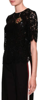 Dolce & Gabbana Short-Sleeve Lace Blouse w/ Heart Applique