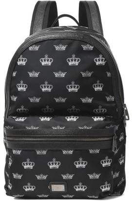 Dolce & Gabbana Textured Leather-Trimmed Printed Shell Backpack