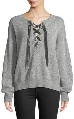 Rails Olivia Lace-Up Wool-Cashmere Sweater