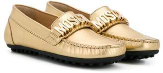 Moschino Kids logo plaque loafers