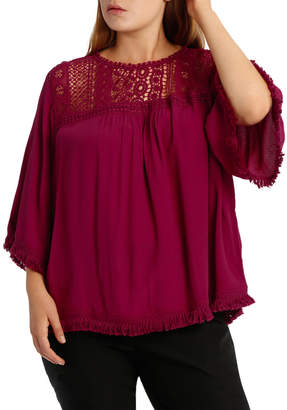 Fringed Lace Boxy Top