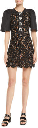Michael Kors Short-Sleeve Floral-Lace Body-Con Mini Cocktail Dress w/ Crystalized Buttons
