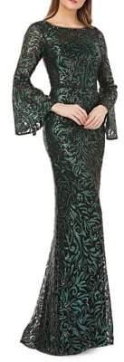 Carmen Marc Valvo Sequin Embellished Mermaid Gown