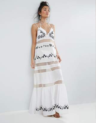Asos Beach Mesh Embroidered Panel Maxi Dress with Peplum Hem
