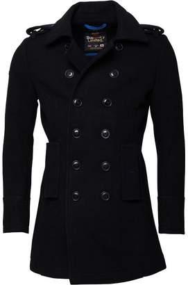 Superdry Mens Bridge Coat Black/New Royal