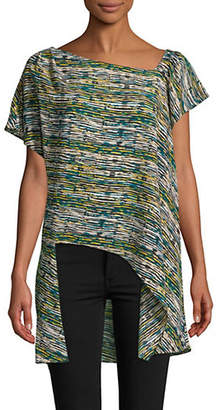 Halston H Printed Flutter-Sleeve Asymmetric Tunic