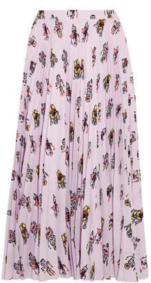 Prada - Printed Plissé-crepe De Chine Midi Skirt - Baby pink