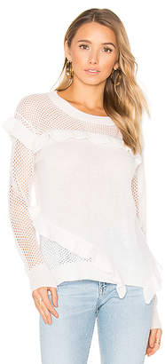 White + Warren White + Warren Ruffle Crew Neck Sweater in White $350 thestylecure.com