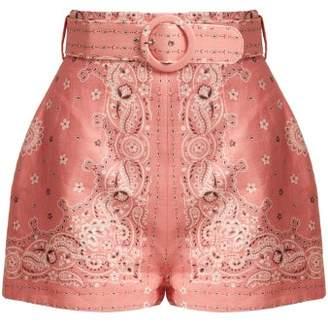 Zimmermann Heathers Bandana Print Linen Shorts - Womens - Pink Print