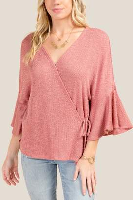 francesca's Delilah Ruffle Sleeve Wrap Top - Rose