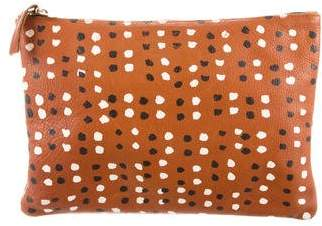 Clare Vivier Printed Leather Flat Clutch