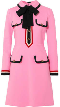 Gucci Grosgrain-trimmed Jersey Mini Dress - Pink