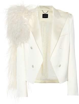Magda Butrym Lubeck feather-trimmed blazer