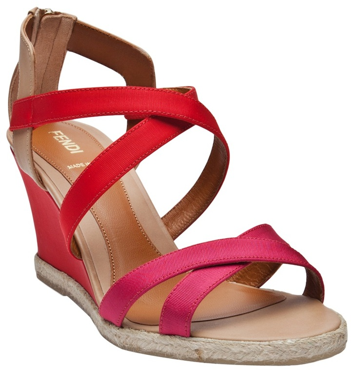 Fendi tri-color wedge sandal