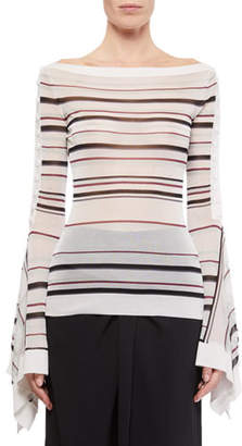 Roland Mouret Biboca Sheer Striped-Knit Bell-Sleeve Top