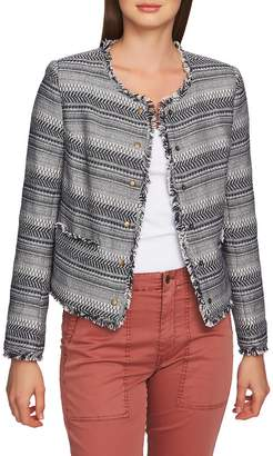 1 STATE 1.STATE Rustic Fringe Tweed Jacket