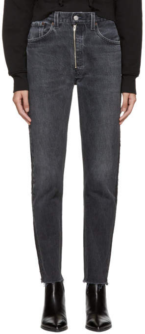 Re-done Black Levis Edition High-rise Ankle Zip Front Jeans