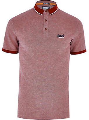 River Island Superdry red logo pique polo shirt