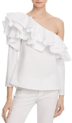Endless Rose One Shoulder Ruffle Top $85 thestylecure.com