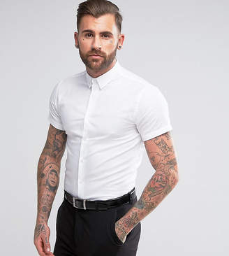 Heart & Dagger Skinny Short Sleeve Shirt With Button Down Collar