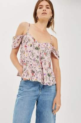 Topshop Floral cold shoulder top