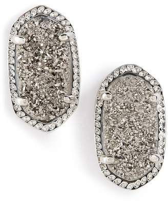 Kendra Scott KendraScott Ellie Oval Stone Stud Platinum Drusy/ Silver Earrings