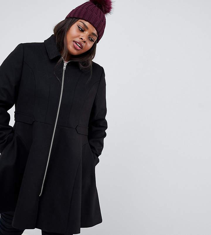 ASOS Curve ASOS DESIGN Curve swing coat with zip front